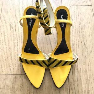 Ankle Strap Striped Heels - EUC